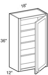 """Mocha Maple Glaze Wall Cabinet   18""""W x 12""""D x 36""""H  W1836"""