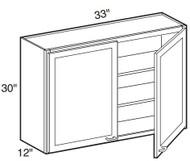 """Chocolate Maple Glaze Wall Cabinet   33""""W x 12""""D x 30""""H  W3330"""