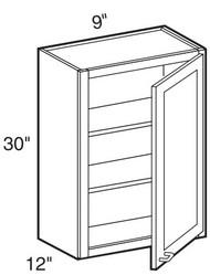 """Mocha Maple Glaze Wall Cabinet   9""""W x 12""""D x 30""""H  W0930"""