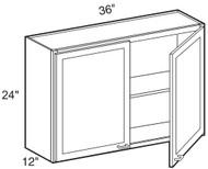 "Black Coffee Maple Wall Cabinet   36""W x 12""D x 24""H  W3624"