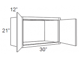 """Chocolate Maple Glaze Wall Cabinet   30""""W x 12""""D x 21""""H  W3021"""