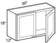 """Chocolate Maple Glaze Wall Cabinet   30""""W x 12""""D x 18""""H  W3018"""