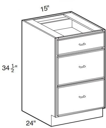 "Mahogany Maple Base Drawer Cabinet   15""W x 24""D x 34 1/2""H  DB15-3"