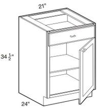 """Creme Maple Glaze Base Cabinet   21""""W x 24""""D x 34 1/2""""H  B21"""