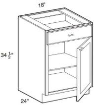 """Creme Maple Glaze Base Cabinet   18""""W x 24""""D x 34 1/2""""H  B18"""