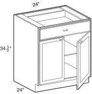"White Shaker Maple Base Cabinet 24"" W x 34 1/2"" H x 24"" D"