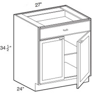 "White Shaker Maple Base Cabinet 27"" W x 34 1/2"" H x 24"" D"