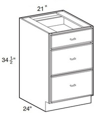 """White Shaker Maple 3 Drawer Base Cabinet 21"""" W x 34 1/2"""" H x 24"""" D"""