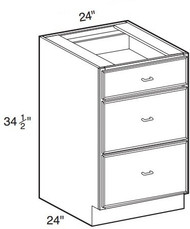 """White Shaker Maple 3 Drawer Base Cabinet 24"""" W x 34 1/2"""" H x 24"""" D"""
