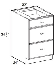 """White Shaker Maple 3 Drawer Base Cabinet 30"""" W x 34 1/2"""" H x 24"""" D"""