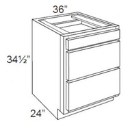"""White Shaker Maple 3 Drawer Base Cabinet 36"""" W x 34 1/2"""" H x 24"""" D"""