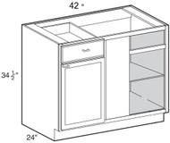 """White Shaker Maple Blind Corner Base Cabinet 42"""" W x 34 1/2"""" H x 24"""" D"""