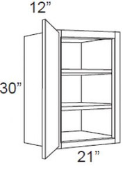 """White Shaker Maple Wall Cabinet 21"""" W x 30"""" H x 12"""" D"""