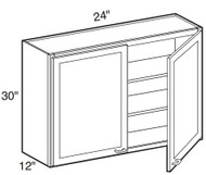 """White Shaker Maple Wall Cabinet 24"""" W x 30"""" H x 12"""" D"""