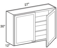 """White Shaker Maple Wall Cabinet 27"""" W x 30"""" H x 12"""" D"""