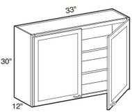 """White Shaker Maple Wall Cabinet 33"""" W x 30"""" H x 12"""" D"""
