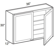 """White Shaker Maple Wall Cabinet 36"""" W x 30"""" H x 12"""" D"""