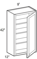 """White Shaker Maple Wall Cabinet 09"""" W x 42"""" H x 12"""" D"""