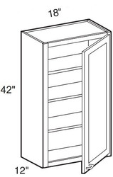 """White Shaker Maple Wall Cabinet 18"""" W x 42"""" H x 12"""" D"""