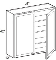 """White Shaker Maple Wall Cabinet 27"""" W x 42"""" H x 12"""" D"""