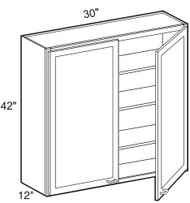 """White Shaker Maple Wall Cabinet 30"""" W x 42"""" H x 12"""" D"""