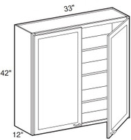 """White Shaker Maple Wall Cabinet 33"""" W x 42"""" H x 12"""" D"""