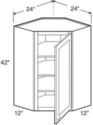 "White Shaker Maple Wall Diagonal Corner Cabinet 24"" W x 42"" H x 12"" D"