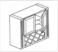 "White Shaker Maple  Lattice Wall  Glass Cabinet 36"" W x 51"" H x 18"" D"