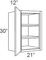 "Pearl Maple Glaze Wall Cabinet   21""W x 12""D x 30""H  W2130"
