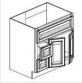 "Ebony Shaker  Vanity Base Cabinet  Door on the Right  36""W x 21""D x 33""H  FA3621DR"