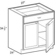 """Ebony Shaker  Base Cabinet   27""""W x 24""""D x 34 1/2""""H  B27"""