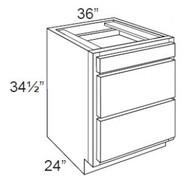 "Ebony Shaker  Base Drawer Cabinet   36""W x 24""D x 34 1/2""H  DB36-3"