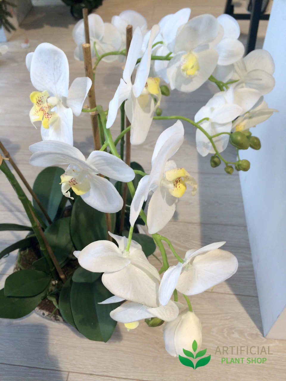 Artificial Fake Plants White Orchids in Round Pot 65cm  eBay