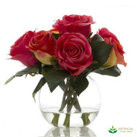 Dark Pink rose with water in glass vase 20cm