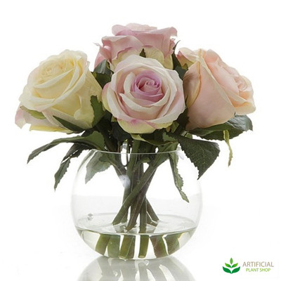 Pink & Cream Rose with water in glass vase 20cm