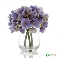 Blue Hydrangea in Glass Vase 18cm (set of 2)