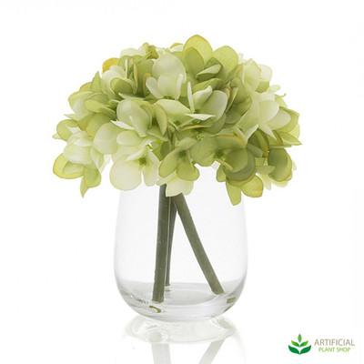 Green Hydrangea in Glass Vase 18cm (set of 2)