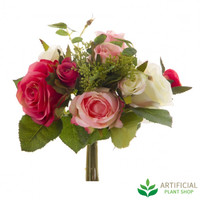 Cream/Pink Rose Country Bouquet 27cm (pack of 6)