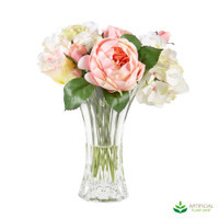 Rose Hydrangea Bouquet in Glass Vase 35cm