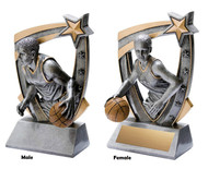 Basketball 3-D Star Resin Trophy - Male or Female