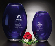Corporate Crystal Award - Cobalt Barrel Vase   | Company Gift | 8.5 and 10.5 Inch Tall
