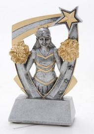 Cheerleader 3-D Star Resin Trophy
