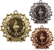 Victory Ten Star Medal - Gold, Silver & Bronze | Achievement 10 Star Award | 2.25 Inch Wide