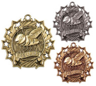 Spelling Ten Star Medal - Gold, Silver & Bronze | Spelling Bee 10 Star Award | 2.25 Inch Wide