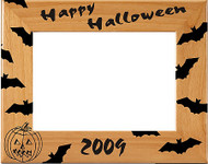 """Halloween """"Bats"""" Picture Frame - Annual   All Hallow's Eve Laser Engraved Annual Wood Frame"""