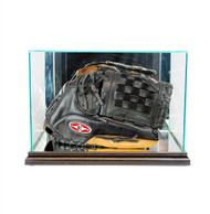 Engraved Rectangular Baseball Glove Glass Display Case - Black Trim