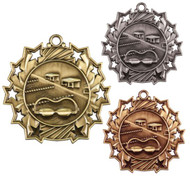 Swimming Ten Star Medal - Gold, Silver & Bronze | Swim Meet 10 Star Award | 2.25 Inch Wide