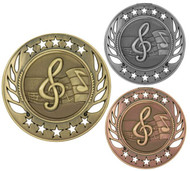 Music Galaxy Medal - Gold, Silver & Bronze | Lyrical Notes Award | 2.25 Inch Wide