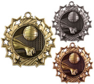Volleyball Ten Star Medal - Gold, Silver & Bronze | Spike & Dig 10 Star Award | 2.25 Inch Wide