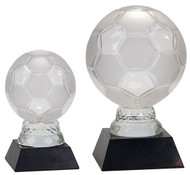Soccer Ball Glass Award - Black Marble Base in 2 sizes
